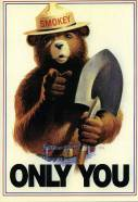 A 1944 U.S. Government parody of Flagg's Uncle Sam features Smokey the Bear urging Americans to prevent forest fires. (Image source: WikiCommons)