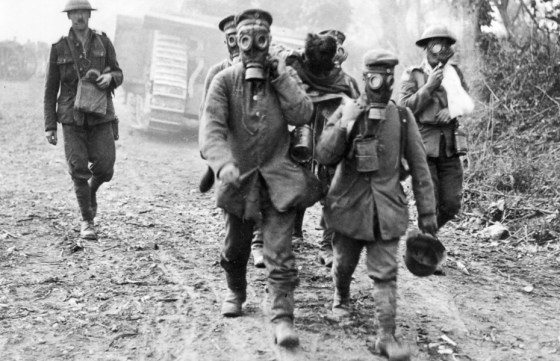 German prisoners wear gas masks in Ypres, 1915. (Image source: The Canadian Press)