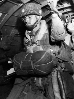 An American paratrooper about to leap from a C-47. (image source: WikiCommons)
