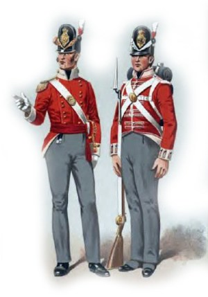 Company Men -- British soldiers of the East India Company, circa 1814. (Image source: WikiCommons)