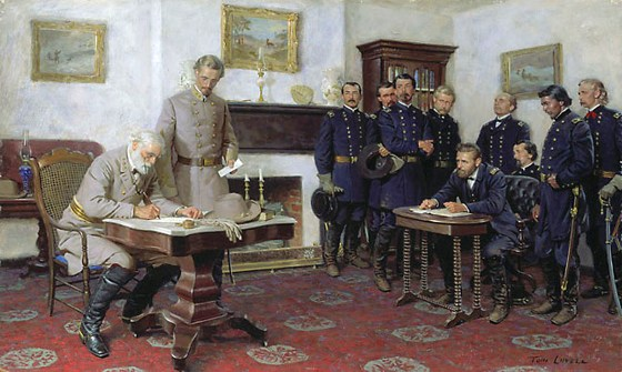 Robert E. Lee surrenders the Army of Northern Virginia to Ulysses S. Grant at Appomattox, Virginia, 1865. (Image source: WikiCommons)
