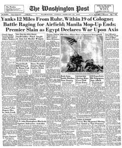 Within two days of the Iwo Jima flag raising, Rosenthal's photo was on the front pages of American newspapers. (Image source: Fair Use)