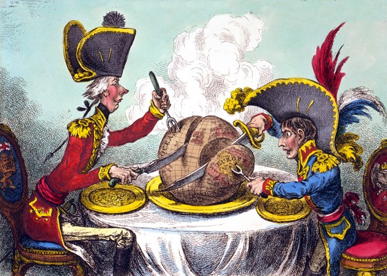 When Napoleon wasn't 'carving up the globe', as he's seen here doing with British prime minister William Pitt in this 1805 caricature by James Gillray, what did the French emperor like served on his own diner table?