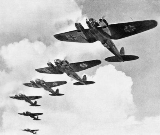 He-111s in formation over England. (Image source: WikiCommons)