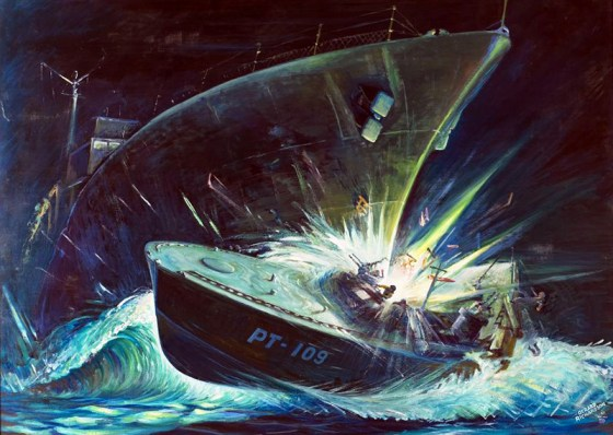 "Gerard Richardson's ""Heavenly Mist"" dramatizes the destruction of PT-109. The painting was a favourite of JFK and hung in the White House during his presidency. (Image Source: John F. Kennedy Presidential Library and Museum, Boston.)"
