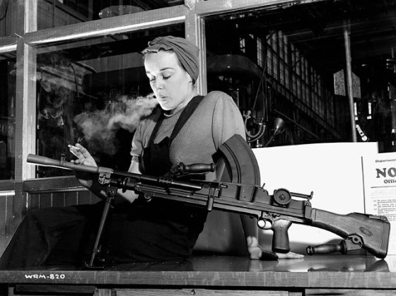 "Veronica Foster, aka ""Ronnie the Bren Gun Girl"", was a Canadian version of Rosie the Riveter. (Image source: Library and Archives of Canada)"