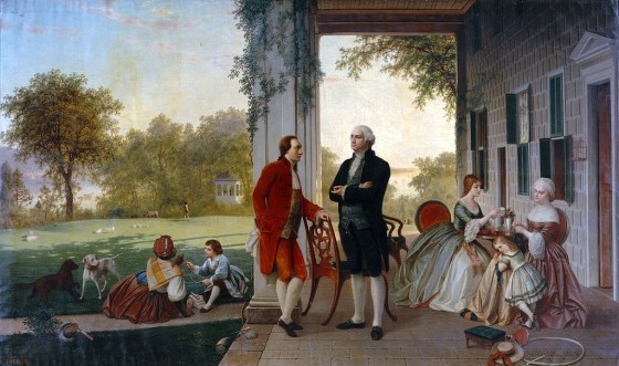 Lafayette and Washington together at Mount Vernon. (Image source: WikiCommons)