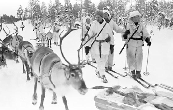 A Winter War reindeer patrol in Jäniskoski near Petsamo Feb. 20, 1940. The Soviets borrowed the idea of reindeer supply caravans during the war with Germany.