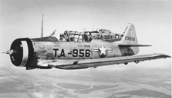 More advanced flight training took place on the North American AT-6 Texan or Harvard. (Image source: WikiCommons)