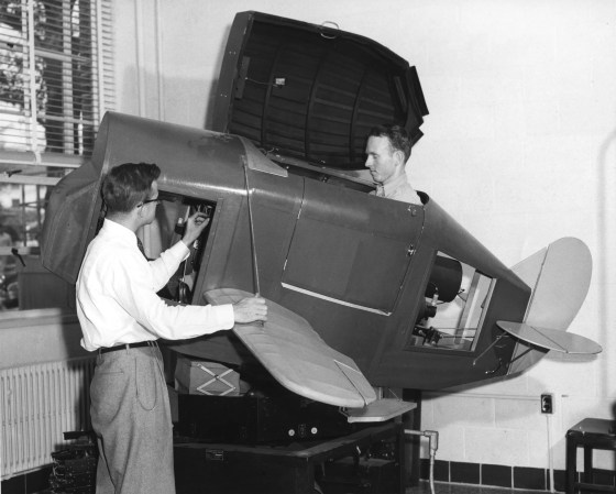 Before computerized flight simulators, pilots-in-training learned about instrument flying using these closed Link trainers.