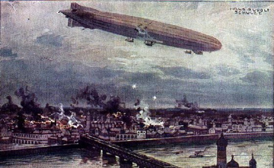 A Zeppelin raid on Warsaw in 1914. (Image source: WikiCommons)