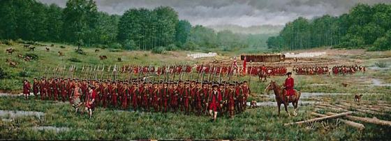 Redcoats encamped in the Ohio wilderness at Fort Necessity.