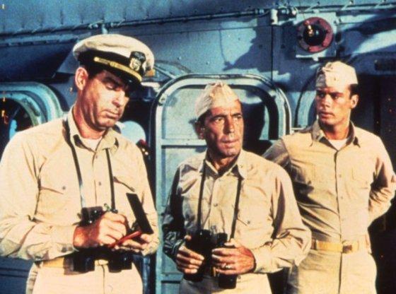 Humphrey Bogart plays the unstable skipper of USS Caine.