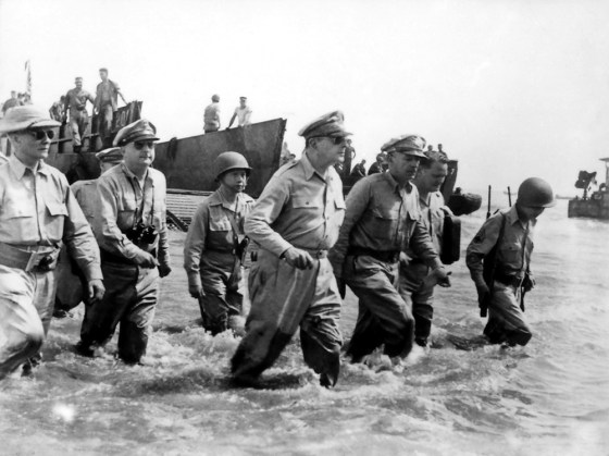 Before Douglas MacArthur famously waded ashore at Luzon on Oct. 20, 1944, U.S. Army bomb squads swept the are for unexploded ordnance. (Image source: WikiCommons)