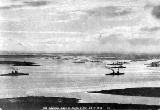 The German fleet arrives at Scapa Flow. (Image source: WikiCommons)