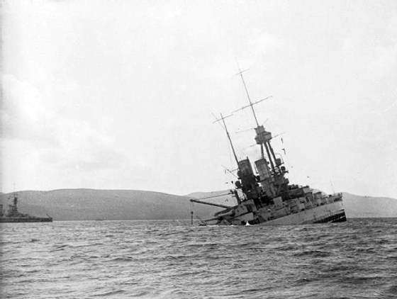 The SMS Bayern sinks, June 21, 1919. It and more than 50 other impounded German warships were intentionally scuttled at Scapa Flow seven months after the end of World War One. (Image source: WikiCommons)