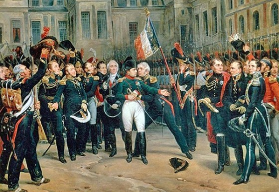 Napoleon bids farewell to his beloved Old Guard following the 1814 Treaty of Fontainebleau. The deposed emperor would soon become the laughing stock of Europe as cartoonists and satirists lined up to poke fun at the former conqueror. (Image source: WikiCommons)