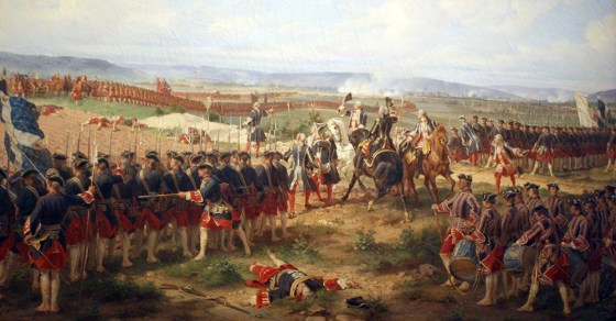 French commanders doff their chapeaux at the advancing British during the Battle of Fontenoy. (Image source: WikiCommons)