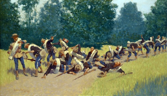 """""""The Scream of Shrapnel at San Juan Hill"""" by Frederic Remington. (Image source: WikiCommons)"""