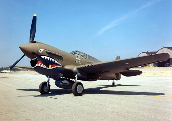 A restored P-40 painted with the Tigers' famous shark mouth nose art. (Image source: U.S. Air Force)