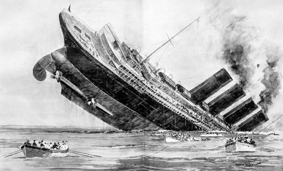 A London Illustrated News depiction of the Lusitania sinking. Among the 1,201 who drowned when the vessel was torpedoed by a German U-boat off Ireland were 128 American citizens. The U.S. was neutral at the time. (Image source: WikiCommons)