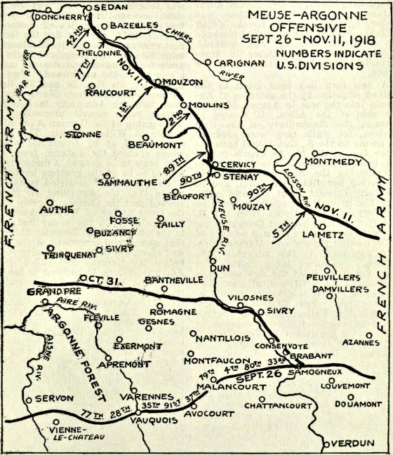 A map from Collier's Magazine showing the progression of the Meuse-Argonne Offensive. (Image source: WikiCommons)