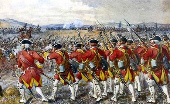 British regulars repel an assault by Scottish Highlanders at Culloden. (Image source: WikiCommons)
