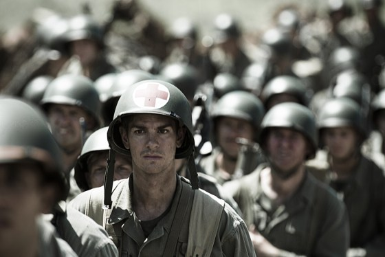 Andrew Garfield plays Desmond Doss, a Medal of Honor recipient and conscientious objector, the upcoming film Hacksaw Ridge. (Image source: Lionsgate Films)