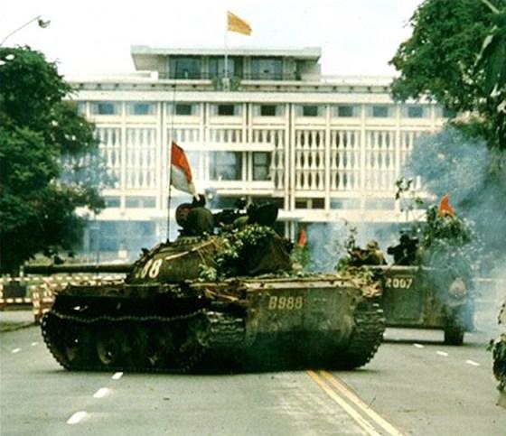 Tanks roll through Saigon, April 30, 1975.