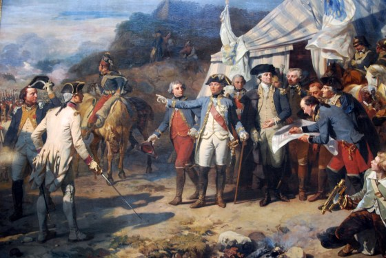 France's General Rochambeau and George Washington jointly plan the attack on the British at Yorktown. (Image source: WikiCommons)
