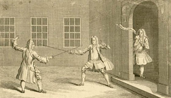 Before the advent of duelling pistols, feuding gentlemen used swords to settle disputes regarding matters of honour. (Image source: WikiCommons)