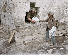 What a kid's paper route looked like in France, circa 1917. (Image source Canada. Dept. of National Defence/Library and Archives Canada via the Vimy Foundation)
