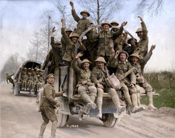 A colourized photo of Canadian troops return victorious from their assault on Vimy Ridge. A charity committed to preserving the memory of the 1917 battle has retouched dozens of First World War photos. (Image source Canada. Dept. of National Defence/Library and Archives Canada via the Vimy Foundation)
