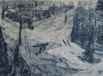 """The historic capital of Russia, Leningrad (formerly St. Petersburg) was the second largest city in the Soviet Union. The siege more than halved the population. In fact, more people died there than were killed in Stalingrad, Hiroshima or Nagasaki. This image """"Crossroads"""" depicts the body of a sailor lying dead in the streets. (Image source: Darwin College)"""
