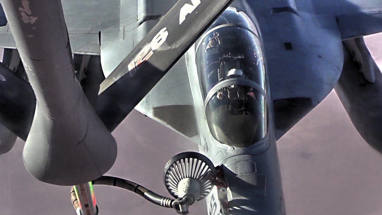 Expeditionary Air Refueling Squadron KC-135 Stratotanker Provides Fuel For EA-18G Growlers