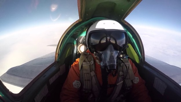 Russian Supersonic MiG-31s Mock Dogfighting in Stratosphere Training