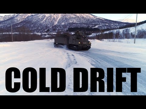 USMC Viking Amphibious All-Terrain Vehicle (BvS10) driving in Norway
