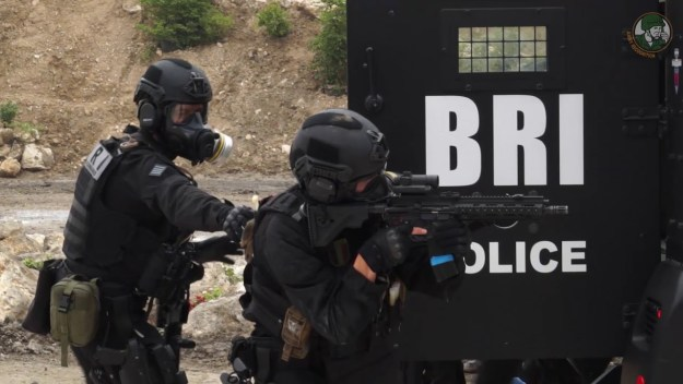 Eurosatory 2018 French National Police BRI SWAT team of Paris in live demonstration