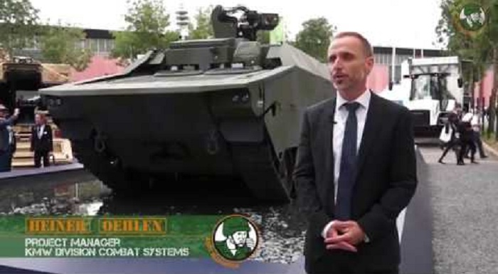 Rheinmetall KF41 IFV Command Post UGV Arnold Defense Fletcher 70mm rocket KMW amphibious armored