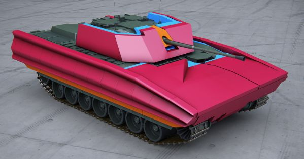 Infantry Fighting Vehicle (IFV) with passive kit (blue) and SMART PROTech protection (red)