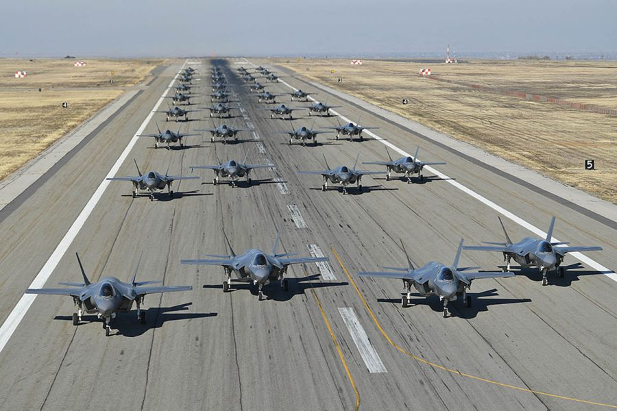 35 of F-35A Lightning IIs conducts combat power exercise at Hill AFB