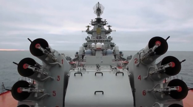 Russian Battlecruiser Pyotr Velikiy Fires Torpedo Missile During Arctic Exercise