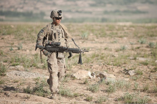 U.S. infantryman patrolling with the M240B