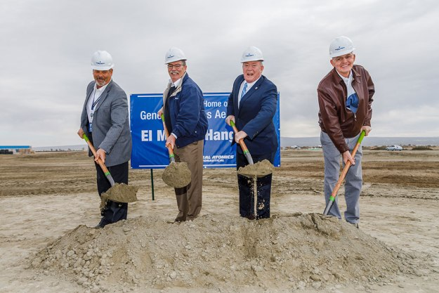 General Atomics Aeronautical Systems, Inc. (GA-ASI) held a groundbreaking ceremony on March 20th for its new hangar in El Mirage. Pictured from left to right: GA-ASI Vice President of Facilities Dennis Garegnani, GA-ASI President Dave Alexander, San Bernardino County First District Supervisor Robert A. Lovingood, and GA-ASI Vice President of Flight Operations Gary Bender.