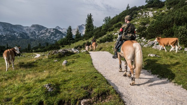Members of the German Mountain Infantry Brigade ride on horseback in the Alps during exercise Mountain Lion.