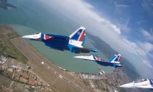 Russian Knights team perform aerobatic maneuvers at LIMA-2019