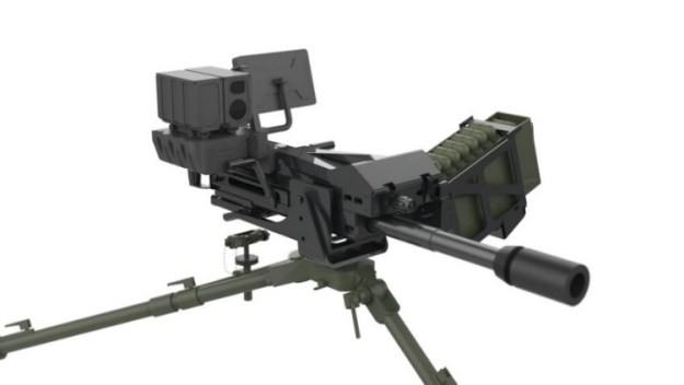 A 40 mm Mk 19 Mod 3 AGL fitted with the Aselsan Atom 40 mm Fire Control Unit (FCU) that enables it to fire the Atom high-velocity air busting munition.