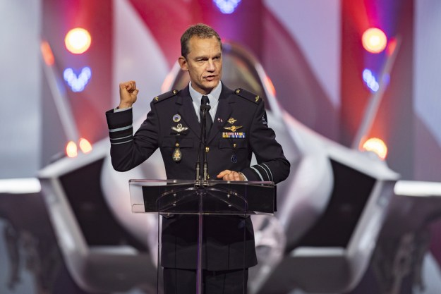 Lt. Gen. Luyt, Royal Netherlands Air Force Commander, addresses the crowd at the ceremony. During his remarks, he spoke about the jet's advanced capabilities, Netherlands industrial participation and the coalition efforts the F-35 enables.