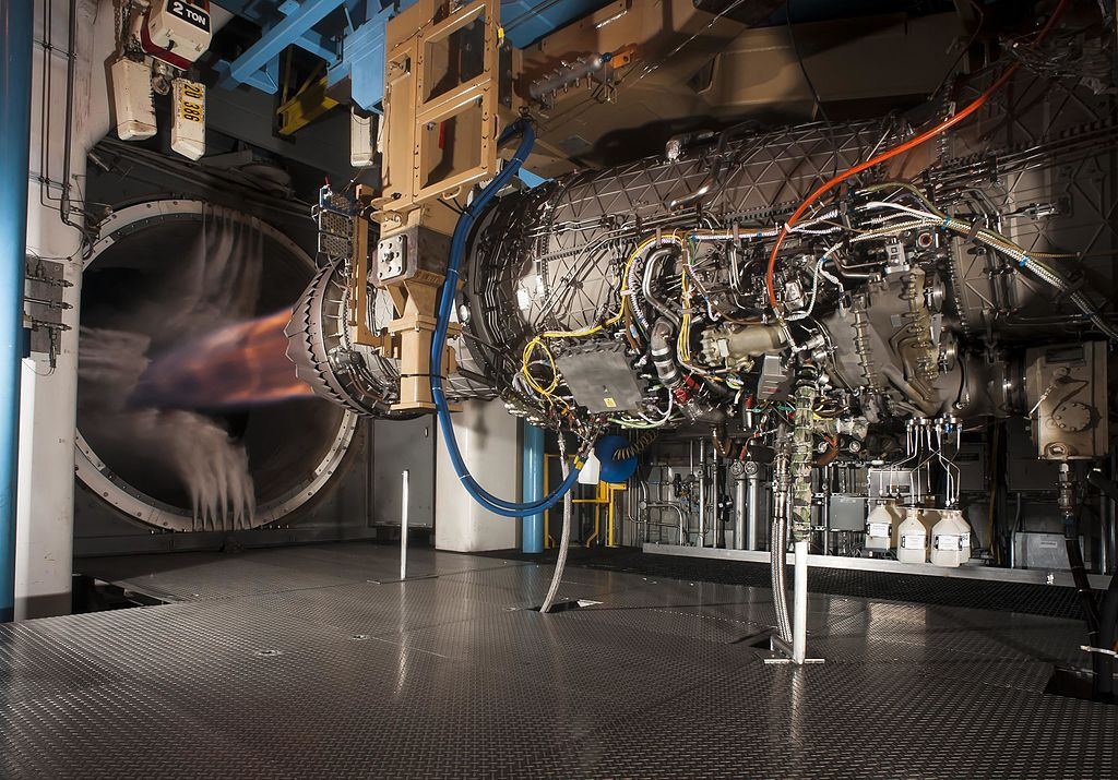 Pratt & Whitney's F135 engine, used in the F-35 Lightning II, successfully demonstrated hot-life capability during accelerated mission testing at AEDC. Pictured here is the engine during testing in the Engine Test Facility's sea level 2 test cell.