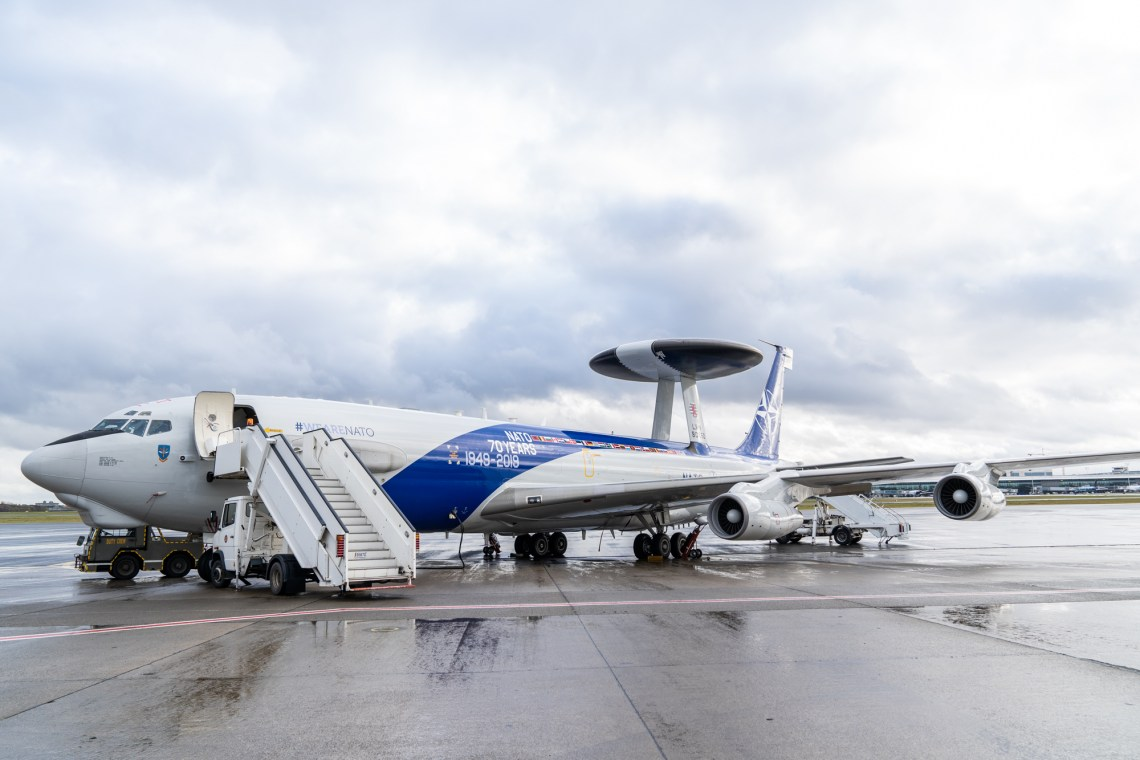 NATO AWACS airplane at Melsbroek Air Base to mark the signing of a contract with Boeing to modernise the AWACS fleet.